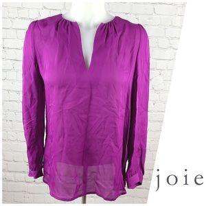 Joie 100% Silk V-Neck Long Sleeve Blouse Size S